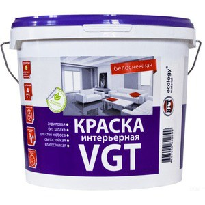 Краска в/д VGT интерьерная белоснежная 7кг. (вд-ак-2180)