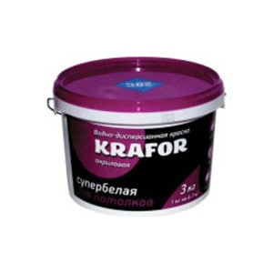 Краска в/д KRAFOR для потолков супербелая 3кг.