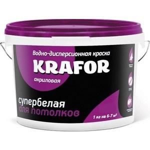 Краска в/д KRAFOR для потолков супербелая 6.5кг.