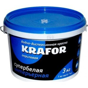 Краска в/д KRAFOR интер. супербелая 3кг. ому универсал 3кг