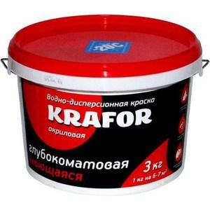 Краска в/д KRAFOR интер. глубокоматов. моющаяся 3кг. краска в д текс универсал моющаяся 3кг