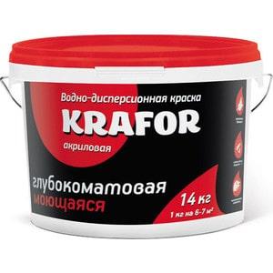 Краска в/д KRAFOR интер. глубокоматов. моющаяся 14кг.