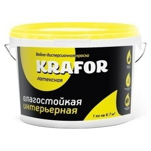 Краска в/д KRAFOR латексная интер. влагостойкая 6.5кг.