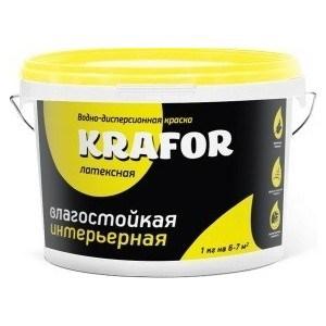 Краска в/д KRAFOR латексная интер. влагостойкая 14кг.