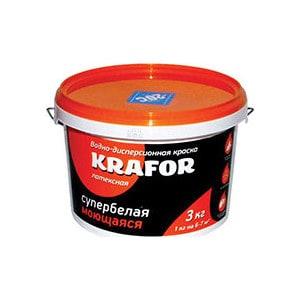 Краска в/д KRAFOR латексная интер. моющаяся супербелая 3кг.  краска в д kapral р16 моющаяся супербелая матовая 25кг
