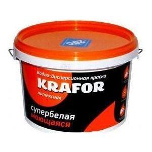 Краска в/д KRAFOR латексная интер. моющаяся супербелая 6.5кг.  краска в д kapral р16 моющаяся супербелая матовая 25кг