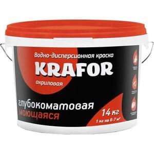 Краска в/д KRAFOR латексная интер. моющаяся супербелая 14кг.  краска в д kapral р16 моющаяся супербелая матовая 25кг