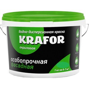 Краска в/д KRAFOR фасадная особо прочная 6.5кг.