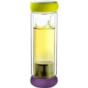 Термобутылка  0.4 л Asobu Twin lid желтая/фиолетовая (TWG1 lime-purple) бутылка 0 48 л asobu the modern press зеленая fp3 lime