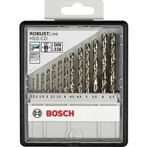 Набор сверл по металлу Bosch 1.5-6.5мм 13шт HSS-CO Robust Line (2.607.019.926) набор сверл по металлу bosch standard hss co din 338 5 шт