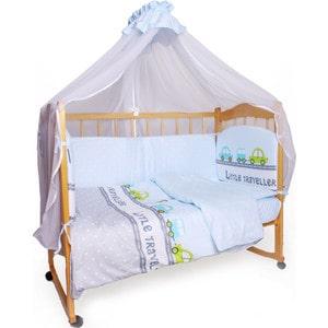Комплект детского постельного белья AmaroBaby 7-ми предметный Little Traveler, сатин, голубой прожектор светодиодный estares dl ns10 ac180 264v 10w ip65 зеленый