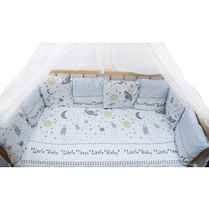 Фотография товара комплект детского постельного белья AmaroBaby 18-ти предметный (6 + 12 подушек-бортиков) ''Little Star'', сатин, голубой (726195)