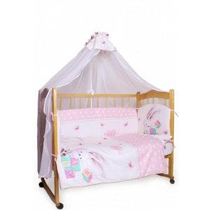 Фотография товара комплект детского постельного белья AmaroBaby 7-ми предметный ''Зайка'', сатин, розовый (726196)