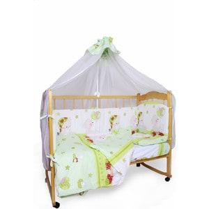 Фотография товара комплект детского постельного белья AmaroBaby 7-ми предметный ''Мишкин сон'', поплин, зеленый (726200)
