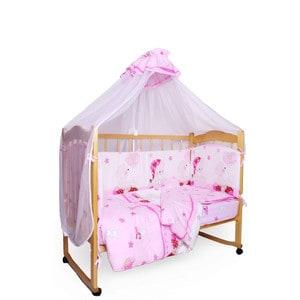 Фотография товара комплект детского постельного белья AmaroBaby 7-ми предметный ''Мишкин сон'', поплин, розовый (726201)