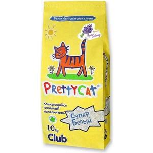 Наполнитель PrettyCat Супер белый комкующийся с ароматом горной лаванды для кошек 10кг Club