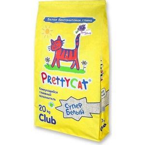 Наполнитель PrettyCat Супер белый комкующийся с ароматом горной лаванды для кошек 20кг Club