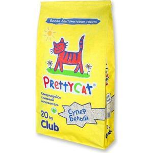 цена на Наполнитель PrettyCat Супер белый комкующийся для кошек 20кг Club