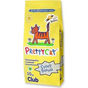 цена на Наполнитель PrettyCat Супер белый комкующийся с ароматом ванили для кошек 10кг Club