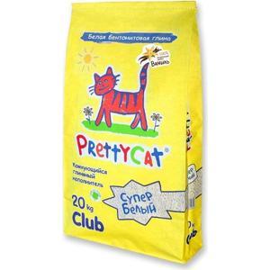 Наполнитель PrettyCat Супер белый комкующийся с ароматом ванили для кошек 20кг Club