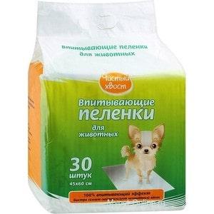Впитывающие пеленки Чистый хвост для животных 60х45см 30шт