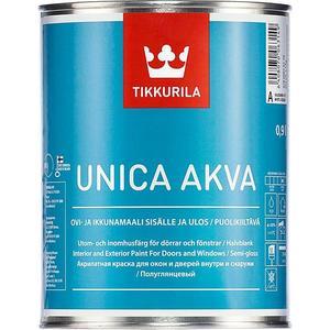 Краска в/д для окон и дверей TIKKURILA Unica Akva ( Уника Аква ) база С 0.9л.