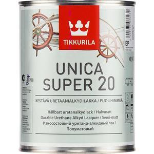 Лак для древесины TIKKURILA Unica Super 20 ( Уника Супер ) полуматовый база ЕР 9л. лак для древесины tikkurila paneeli assa 20 панели ясся полуматовый база ер 9л