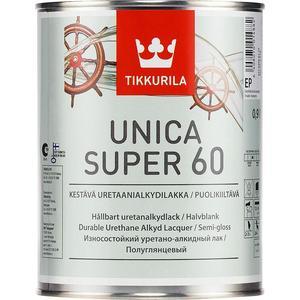 Лак для древесины TIKKURILA Unica Super 60 ( Уника Супер ) полуглянцевый база ЕР 0.9 л.
