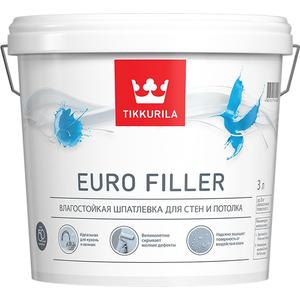 Шпатлевка готовая TIKKURILA Euro Filler ( Евро Филлер ) влагост. белая 3л.