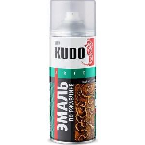 Эмаль по ржавчине аэрозоль KUDO МОЛОТКОВАЯ серебристо-изумрудная 520мл. (6)ku-3003