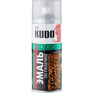 Эмаль по ржавчине аэрозоль KUDO МОЛОТКОВАЯ серебристо-черная 520мл. (6)ku-3013