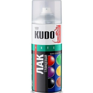 Лак аэрозольный KUDO акриловый глянцевый 520мл. (12)ku-9002