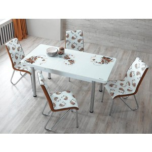 Комплект кухонный AlwaysSTAR Стол M28 brown, 4 стула S28 brown homegeek brown