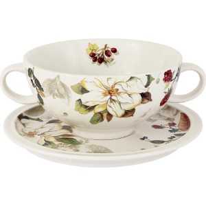 Суповая чашка на блюдце Imari Магнолия (IMB0304-A2119AL) суповая чашка на блюдце шампань 939343