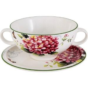 Суповая чашка на блюдце Imari Цветы и птицы (IMB0304-A2210AL)