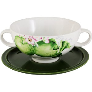 Суповая чашка на блюдце Imari Зеленые яблоки (IMB0304-A2211AL)