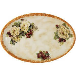 Блюдо овальное LCS Роза и малина (LCS1309_36-RM-AL)