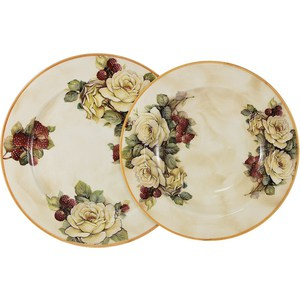 Набор тарелок: суповая + обеденная LCS Роза и малина (LCS353-RM-AL)