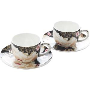 Набор: 2 чашки с блюдцами Maxwell & Williams Кимоно черный (MW637-PK0405)