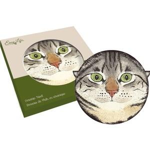 Подставка керамическая Easy Life (R2S) Кошки серая с зелёными глазами (R2S1551_MEOW_2-AL)