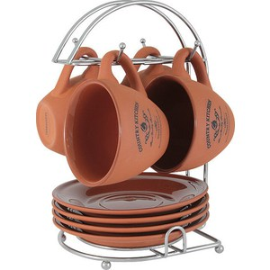 Набор: 4 чашки + 4 блюдца на металлической подставке Terracotta Умбра (TLY314-CKT-AL)