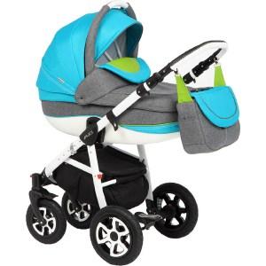 Коляска 2 в 1 Adamex Alex, (серый + голубой + зеленый 29P) (GL000492023) adamex коляска 2 в 1 barletta adamex лисёнок белый оранжевый