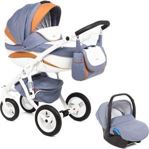 Коляска 3 в 1 Adamex Barletta New, (голубой + белый + оранжевый B-25 а.к. F-12) (GL000502527) adamex коляска 2 в 1 barletta adamex лисёнок белый оранжевый
