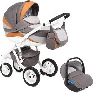 Коляска 3 в 1 Adamex Barletta New, (серый + серый принт + оранжевый B-31 а.к. F-3) (GL000502541) adamex коляска 2 в 1 barletta adamex лисёнок белый оранжевый