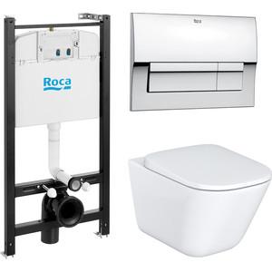 Комплект Roca Gap унитаз с сиденьем микролифт + инсталляция ROCA WC + кнопка хром (893104100)