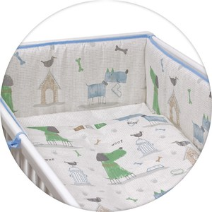 Постельное белье Ceba Baby 3 пр. My Dog blue green Lux принт W-800-073-003-1 (Э0000016406)