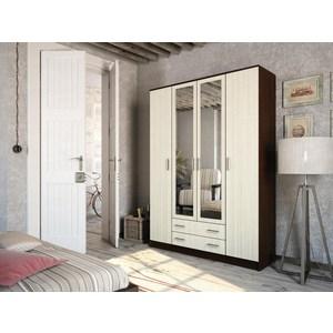 Шкаф четырёхдверный ЭРА Квадро венге/лоредо зеркало шкаф comforty марио 75 сосна лоредо
