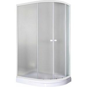 Душевой уголок Pegas Классика 120х80 (левая) см, профиль белый, стекло матовое, с низким поддоном (Р-120Н L)