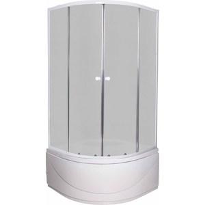 Душевой уголок Pegas Классика 100х100 см, профиль белый, стекло матовое, с высоким поддоном (Р-100В)