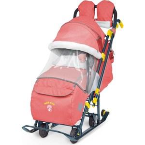 Детские санки-коляска Ника Детям 7-3 (красный джинс) (1373463/1373462) детские санки коляска ника детям 7 4 мятный